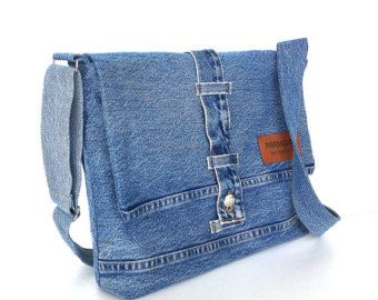 Recycled crossbody bag small blue jean side bag vegan by Sisoi
