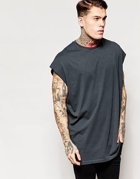 Camiseta extragrande sin mangas en gris con bordes sin rematar de ASOS