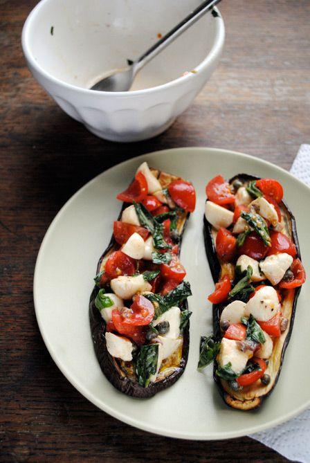 Tricolore eggplant bruschetta