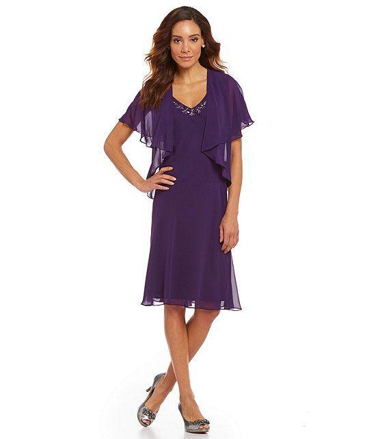 S.L. Fashions Beaded-Neck Capelet Jacket Dress