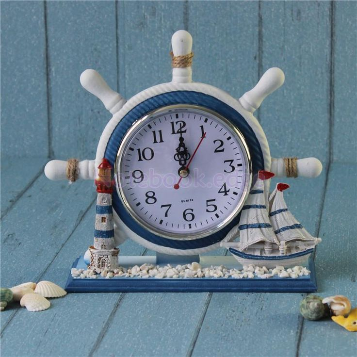 Wood Circular Nautical Anchor Desk Time Clock Boat Steering Wheel Decor Ship