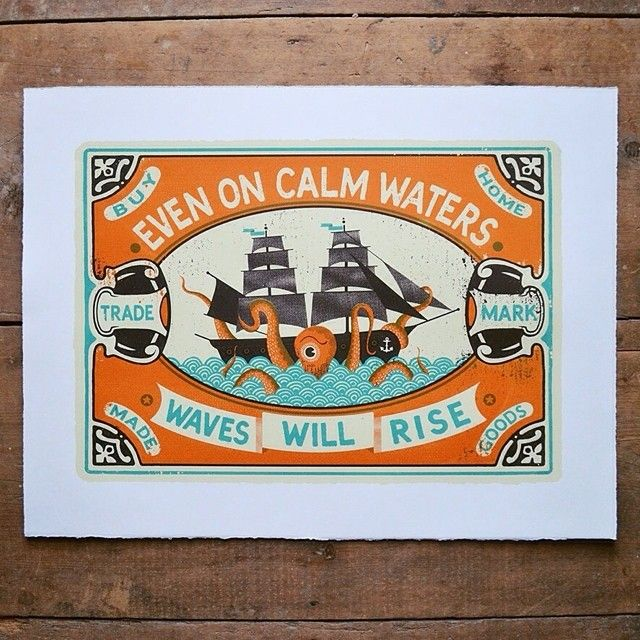 Waves Will Rise screen print by Tom Frost. This stunning print is based on old matchbox designs. We have a great collection of prints from Tom at the moment and they can be found in our Bristol shop & gallery and online on our incredibly comprehensive website! www.soma.gallery #somagallery #tomfrost #theboyfrost #waveswillrise #matchbox #vintage #kraken #galleon #ship #octopus #giantsquid by somagallery