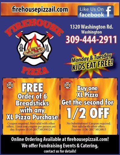 Firehouse Pizza Washington - Free Breadsticks and BOGO XL Pizza coupons in Washington, IL