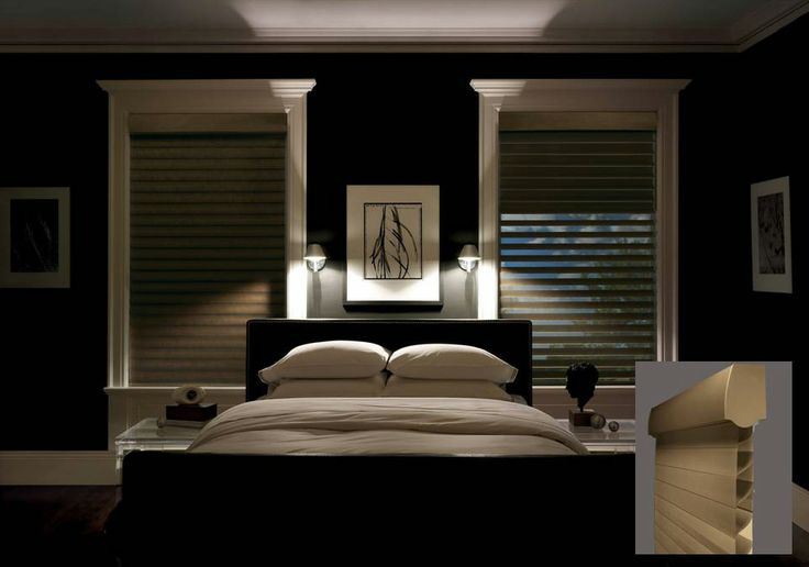 Silhouette® A Deux™ window shadings combine the unparalleled light filtering beauty of Silhouette® window shadings with a room darkening roller shade to create a perfect bedroom window treatment with variable light control and privacy. ♦ Hunter Douglas window treatments #Decor #Design #Iconic