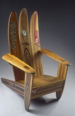 Repurposes Water Skis Chair ~ Wonderful decor for a beach house, man cave, kids room, cabin at the lake...