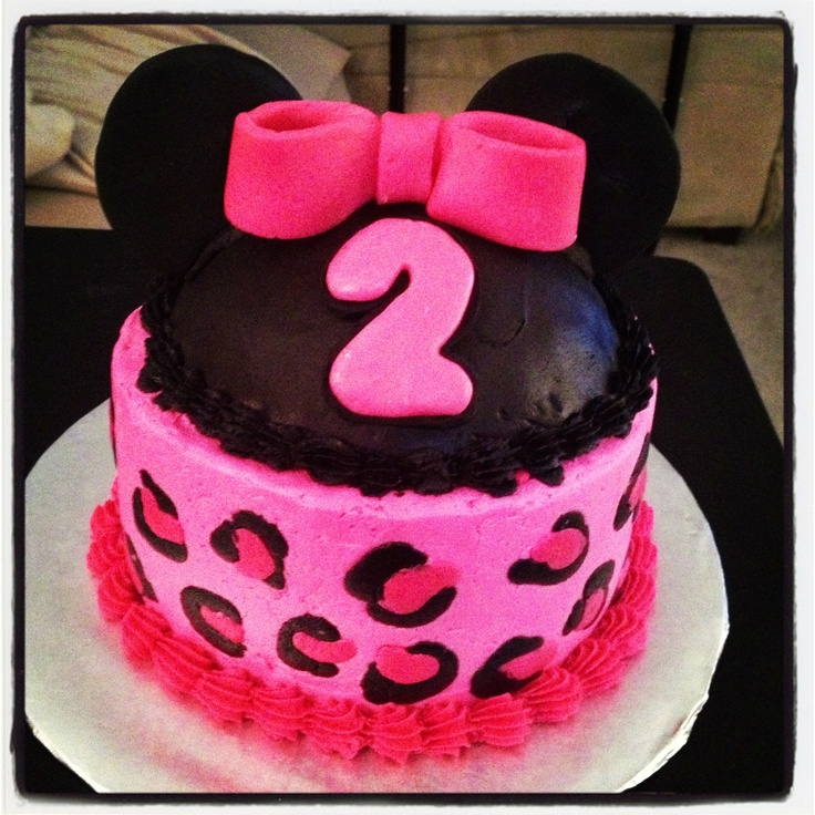 Minnie Mouse Cheetah Smash Cake For 2nd Birthday