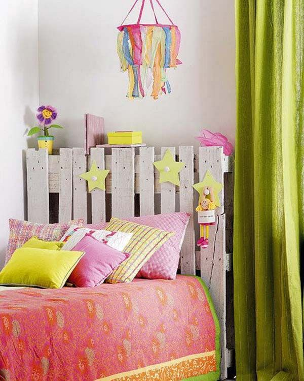 Headboard made from old pallets | 26 Cute Ideas To Add Fun To a Child Room
