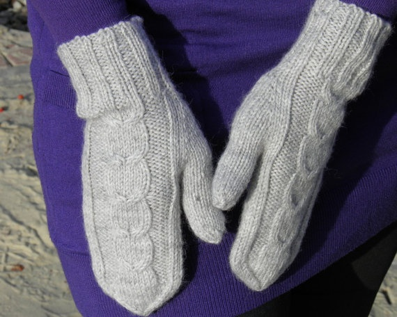 Wool mittens gray cable knit mittens Christmas gift by Crafts2Love