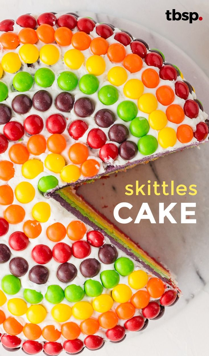 Rainbow on the outside and rainbow on the inside, this Skittles™ cake is a definite showstopper!