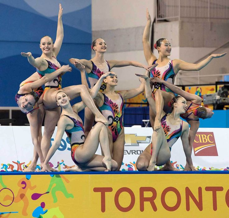 Team Canada perform their winning free routine in the Synchronized Swimming Team event at the Pan Am Games on Saturday July 11, 2015 in Toronto, Ontario. Team members: Gabriella Brisson, Annabelle Frappier, Claudia Holzner, Lisa Mikelberg, Marie-Lou Morin, Samantha Nealon, Jacqueline Simoneau, Karine Thomas, Lisa Sanders (alternate)