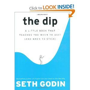 """""""Interesting little book, all the while we're getting advice on being persistence, hanging on to the hook, quitting is not an option....etc     But in this book Seth Godin share with that when is the right time to walk away and quitting the games"""" - sounds like a good book"""