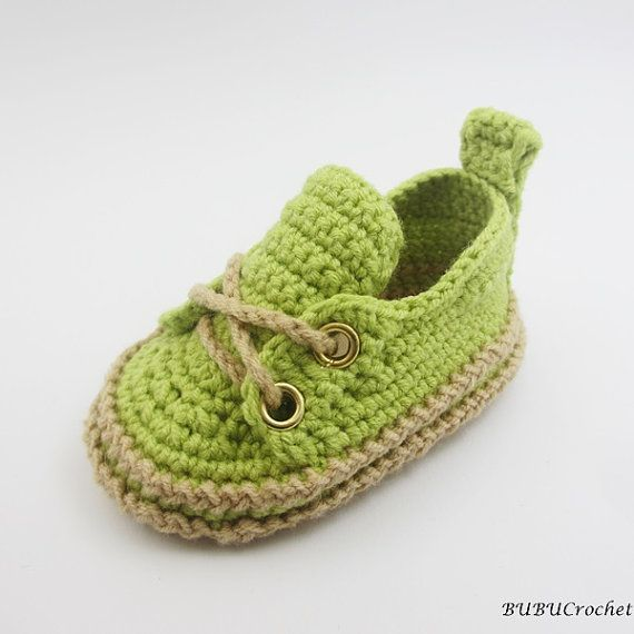 Green Crochet Baby Sneakers Infant Crochet Booties by BUBUCrochet