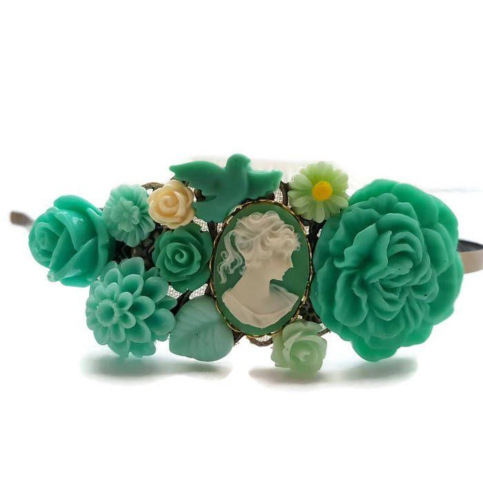 Green Lady Headband-Cameo Crown-Prom Headband-Bridesmaid Headpiece-Bridal Fascinator-Teal Floral Comb-Green Hair Pin-Flower Clips-Decorative