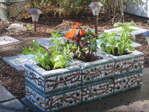 Custom designed mosaic cinder block herb garden planter for Garden mosaic designs