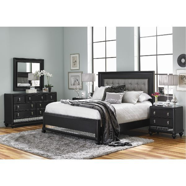 Diva Midnight Black Queen 6 Piece Bedroom Set