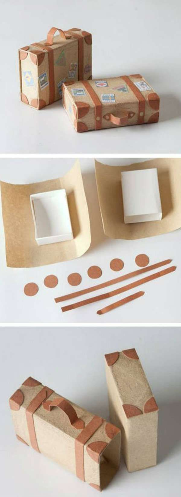 Boites d'allumettes déguisées en valises.  19 idées originales d'emballages cadeaux à faire soi-même