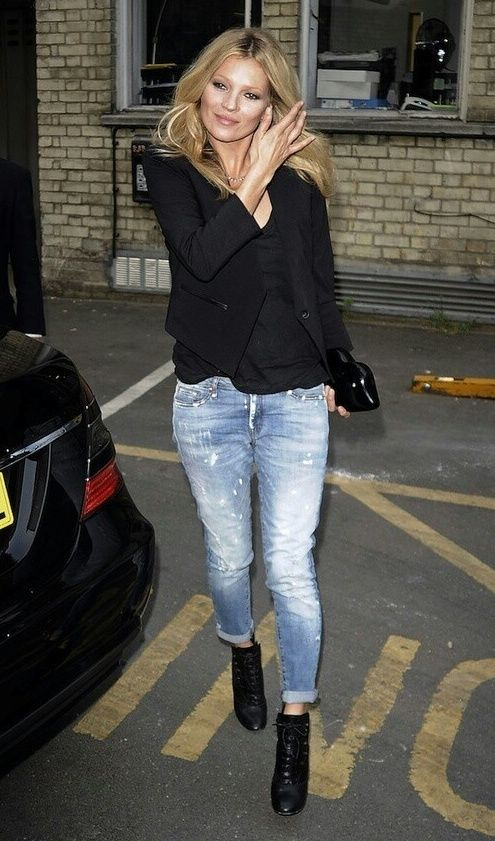 Kate MossFashion, Ankle Boots, Street Style, Black Boots, Style Icons, Katemoss, Boyfriends Jeans, Kate Moss