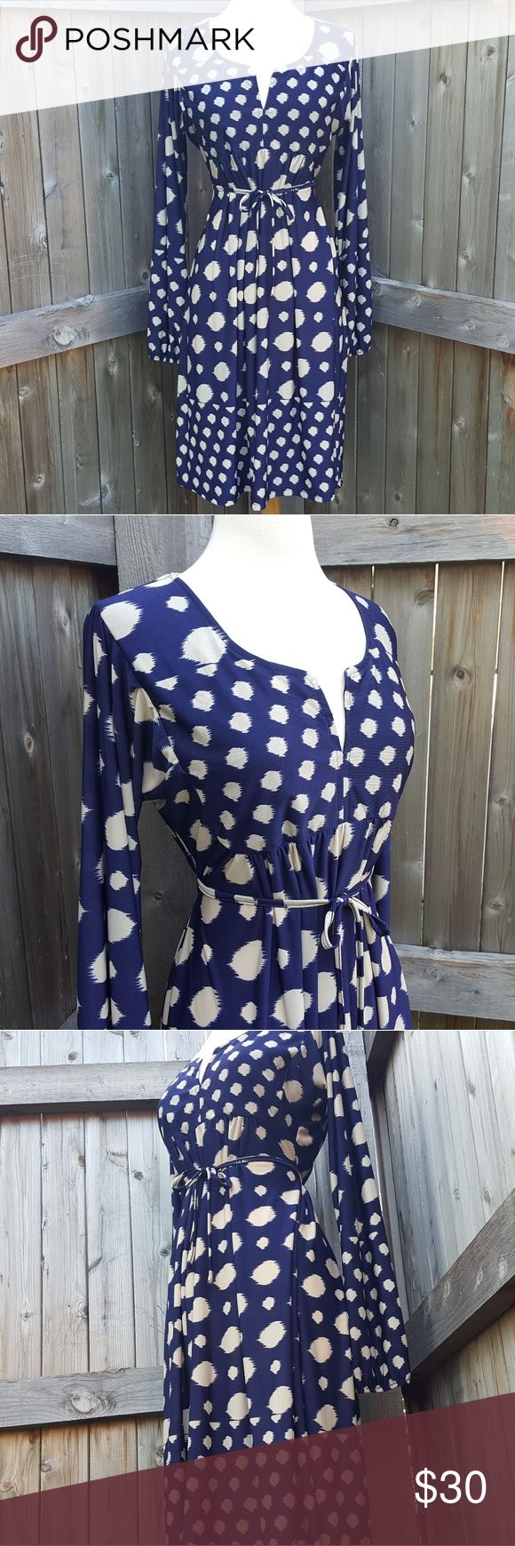 Reborn Navy Blue Polka Dot Long Sleeve Dress L This gorgeous dress features long sleeves and a tie waist. It can be tied in the front or back. It is in good pre-owned condition with only minimal wear. Size large. Reborn Dresses Long Sleeve