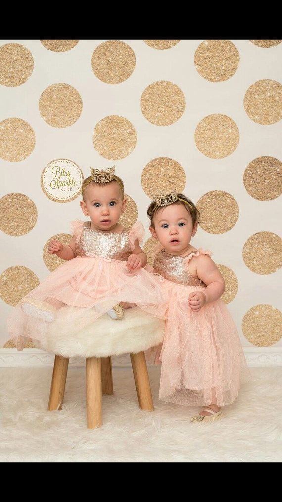 Pink and gold birthday dress gold baby crown by BitsySparkle