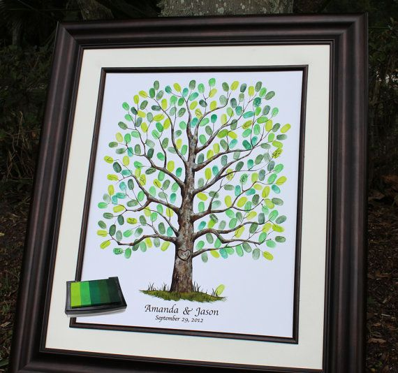 Alternative Wedding Gifts: Wedding Thumbprint Tree, Unique Guest Book Alternative