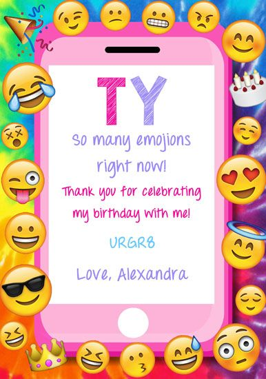 emoji thank you cards personalized 1 gadiņa ballīte pinterest
