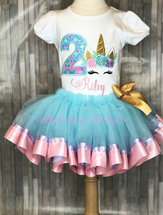 Unicorn Birthday Outfit Embroidered Shirt 1st 2nd 3rd Any Age