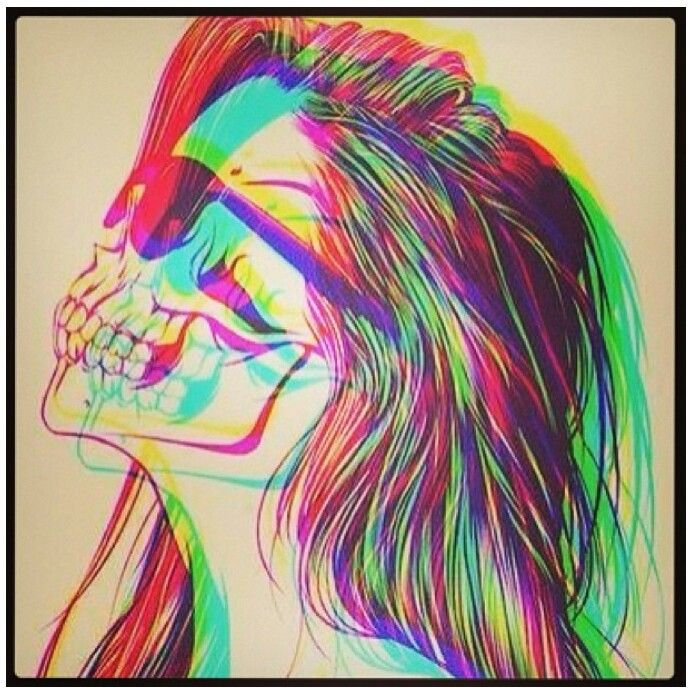 And this is my life - {art, colors, colorful, skeleton girl, bones, shades, sunglasses, life}