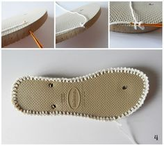 Já imaginou fazer calçados de crochê? A artesã Bruna Szpisjak desenvolveu lindas alpargatas usando solado de sandálias Havaianas e a linha ...