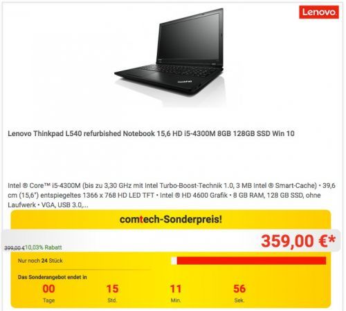 Lenovo Thinkpad L540 refurbished Notebook - jetzt 10% billiger