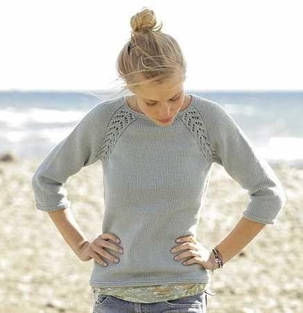 Padrão de tricô livre para uma camisola rendas Raglan