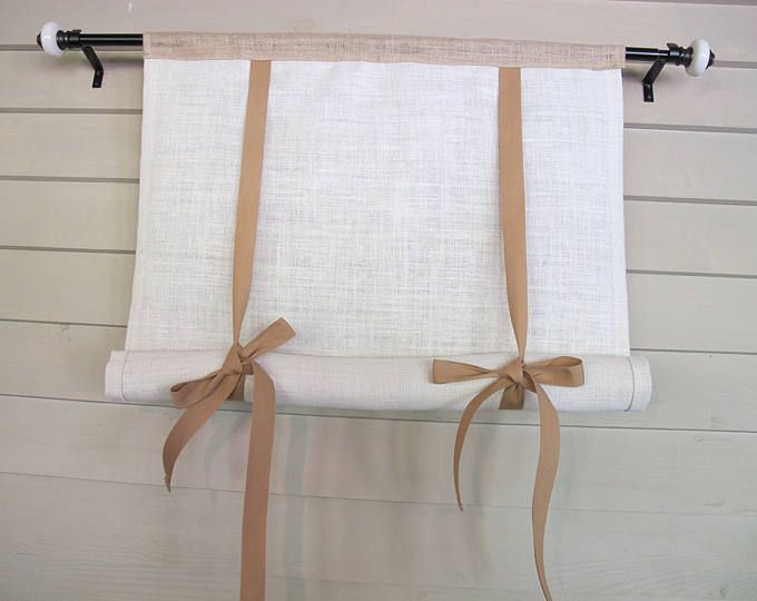 White Burlap Monogram 48 Inch Long Swedish Roll Up Window Shade Stage Coach Blind Tie Up Curtain Swag Balloon Modern Farmhouse Tie Up Curtains Curtains With Blinds Burlap Curtains