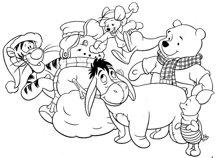 Winnie The Pooh And Snowman Coloring Pages To Print