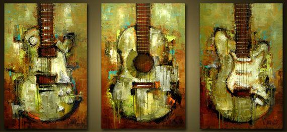 Original Painting - Modern Abstract Art by SLAZO - 36x72 Set of THREE 24x36 Each