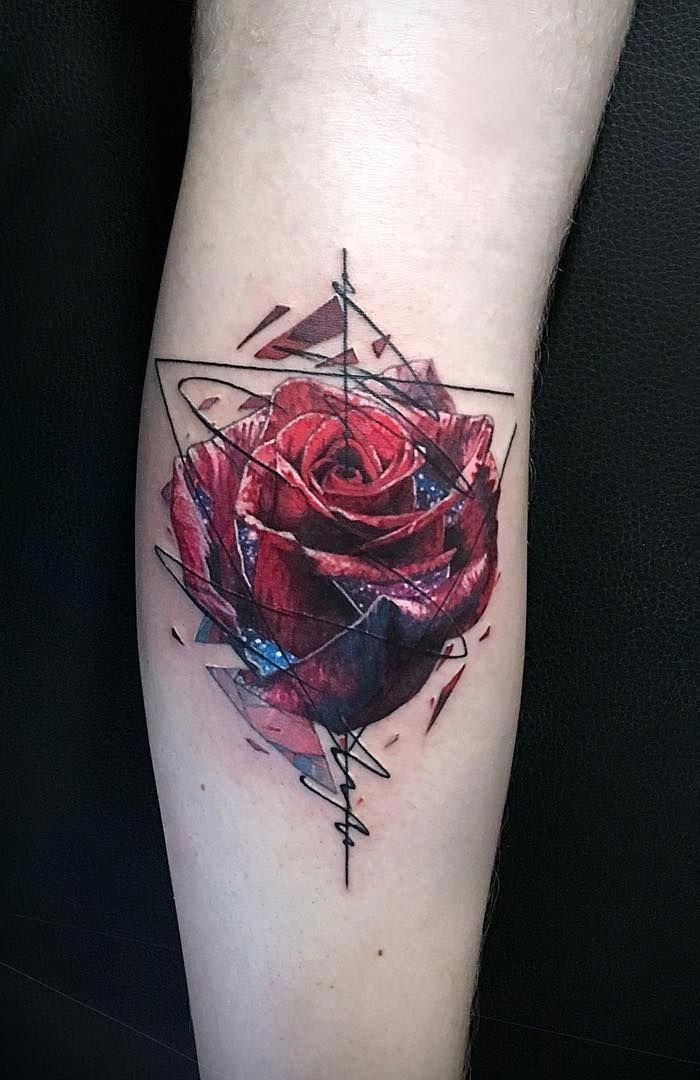 Abstract Rose Tattoo C Tattoo Artist Vlad Tokmenin Menstattoos Tattoos For Guys Cool Tattoos For Guys Geometric Tattoo