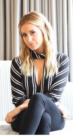 Who made  Ashley Tisdale's black and white stripe top?