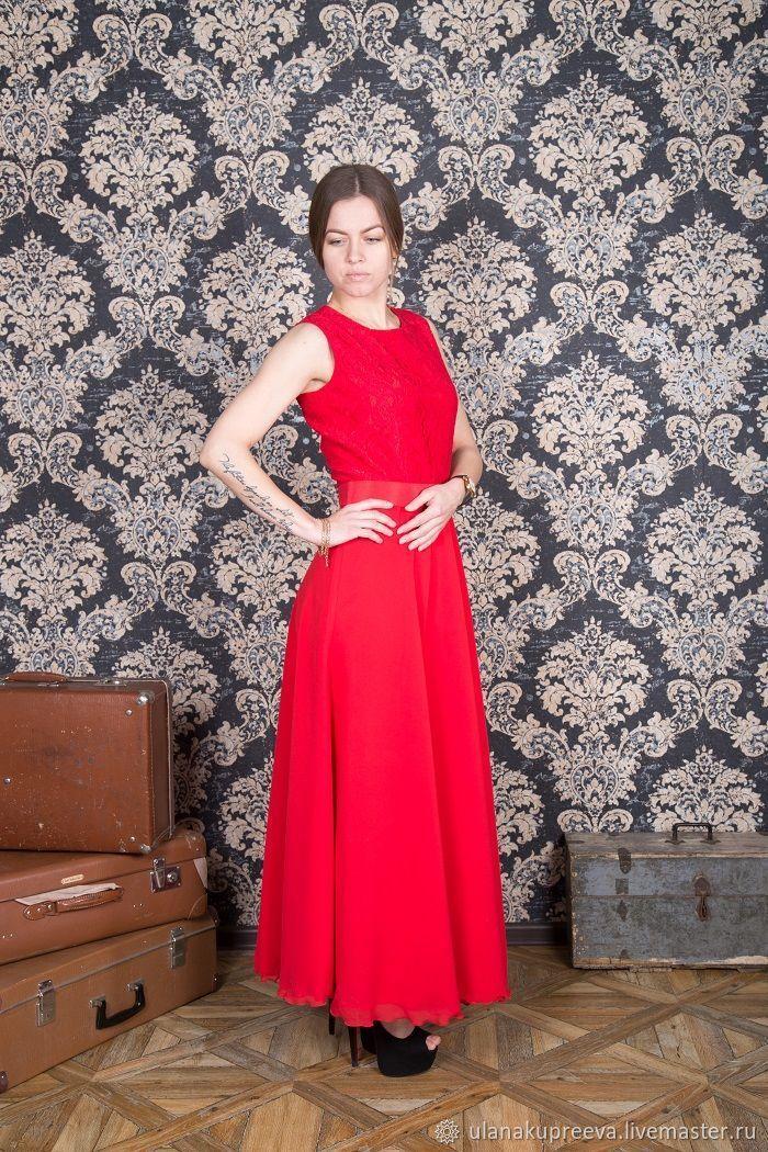 50cb0cd6e95 Красное длинное платье в пол – купить в интернет-магазине на Ярмарке  Мастеров с доставкой