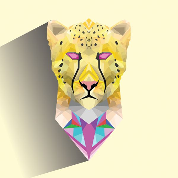 My first attempt making the facets style illustration #facets #design #illustration #cheetah #Meow #cat #cream
