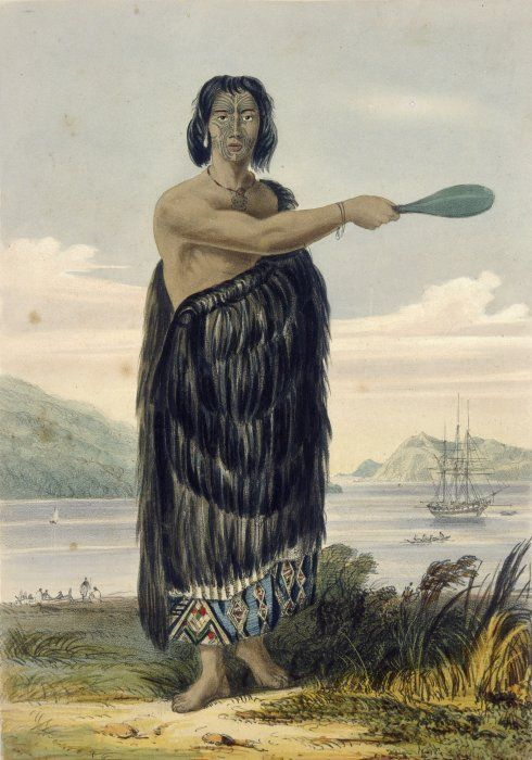 Charles Heaphy 1820-1881: Wharepouri gesturing with a mere in his right hand, the Tory behind him and a row boat with 4 men being rowed towards the ship. A Maori canoe and several men behind Wharepouri on the left. The background is Wellington Harbour, probably looking towards the entrance, with Miramar on the right, taken from the western shore, near Petone. Wharepouri, who has full facial moko, is wearing a tiki, an earring and a cloak, either of dogskin or feathers, with kaitaka border.