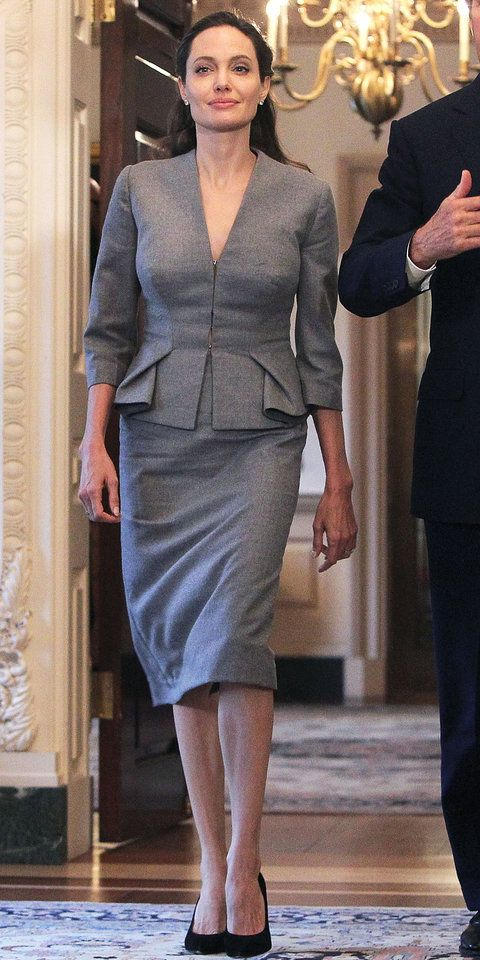 Angelina Jolie Owns the Gray Power Suit for Her World Refugee Day Speech from InStyle.com