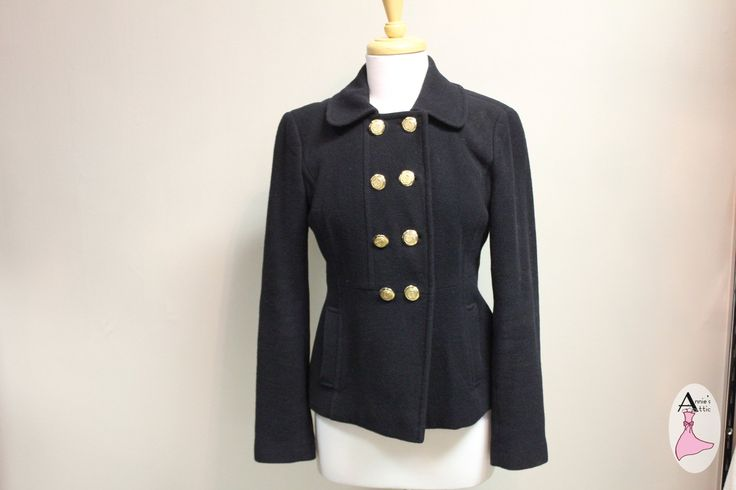 Ann Taylor LOFT blazer, size 2 Black, wool blend 6 gold buttons down the front $30.50