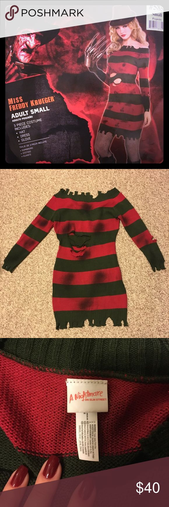 Worn One Time ONLY!!!! Ms Freddy Krueger costume!! Only wore this once to a party for a couple of hours! LIKE NEW!!! Comes with all the accessories: Hat Full Glove with blades. Freddy Dress   All you will need to do to look awesome for halloween is some sexy Freddy Krueger makeup and you are good to go!!!   Dress is stretchy for a nice curve hugging fit and knit fabric is soft, warm and comfortable! Nightmare on Elm St Other