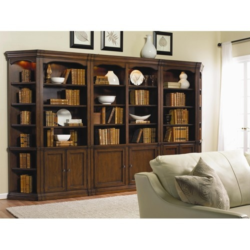 Cherry Creek Traditional Bookcase Modular Wall System by Hooker Furniture - Baer's Furniture - Bookcase - 2 Pc. with Hutch Miami, Ft. Lauderdale, Orlando, Sarasota, Naples, Ft. Myers, Florida