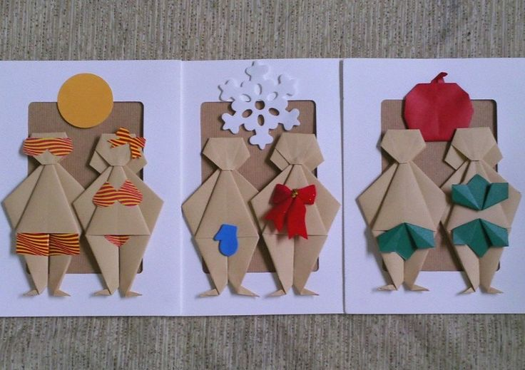 Happy Couple AU NATUREL Origami Greeting Cards. $10,50, via Etsy.: