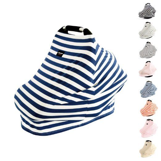 AMAZLINEN Universal Fit Multi-use Baby Car Seat Covers,Infant Car Seat Canopy,Nursing Covers,4 In 1,Stretchy Breathable 360° Coverage,Unisex Navy Blue and White Stripe                                                                                                                                                                                 More