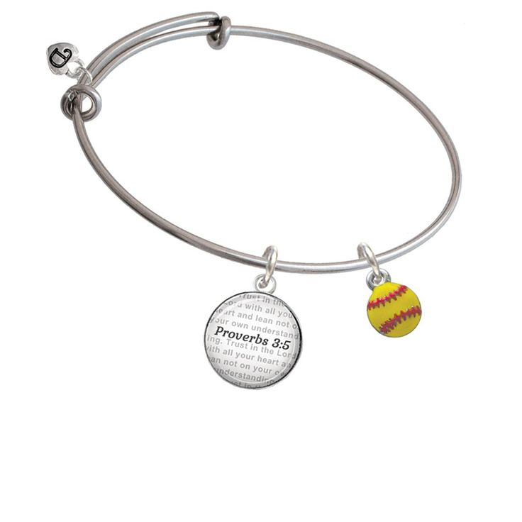 Mini Softball - Two Sided - Bible Verse Proverbs 3:5 Glass Dome Bangle Bracelet * You can get more details by clicking on the image. (This is an affiliate link and I receive a commission for the sales)