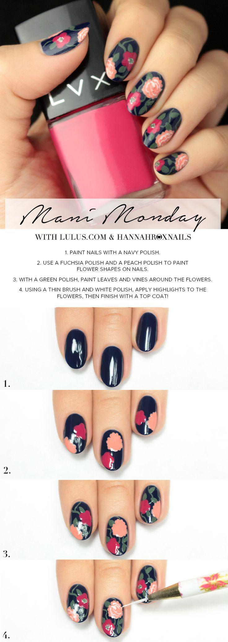 Mani Monday: Blue Floral Print Nail Tutorial at LuLus.com!