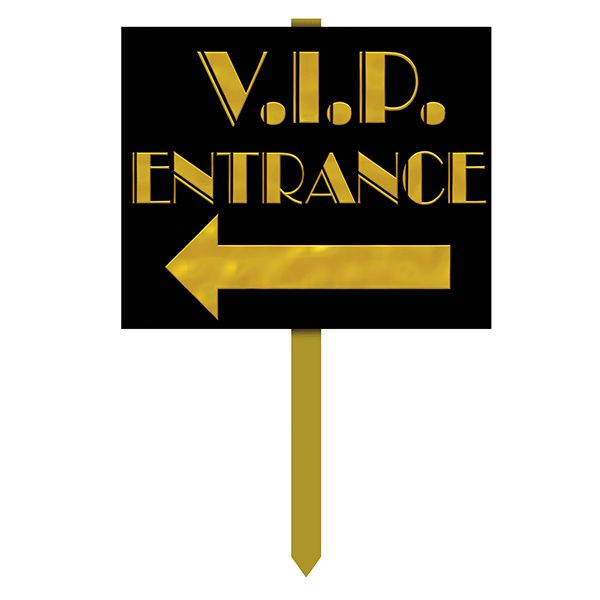 "Point your VIP party guests in the right direction! This VIP Entrance Yard Sign is the perfect way to tell your guests they've arrived. This yard sign features a black sign, with the words ""VIP Entran"