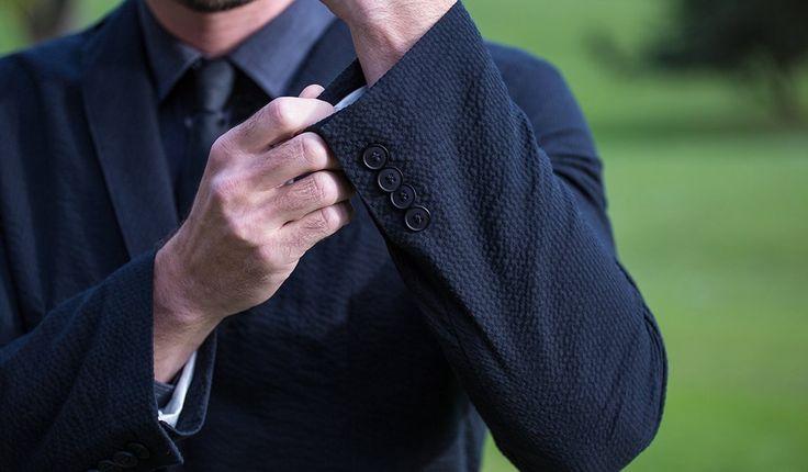Betabrand Black Seersucker Blazer side buttons on sleeve