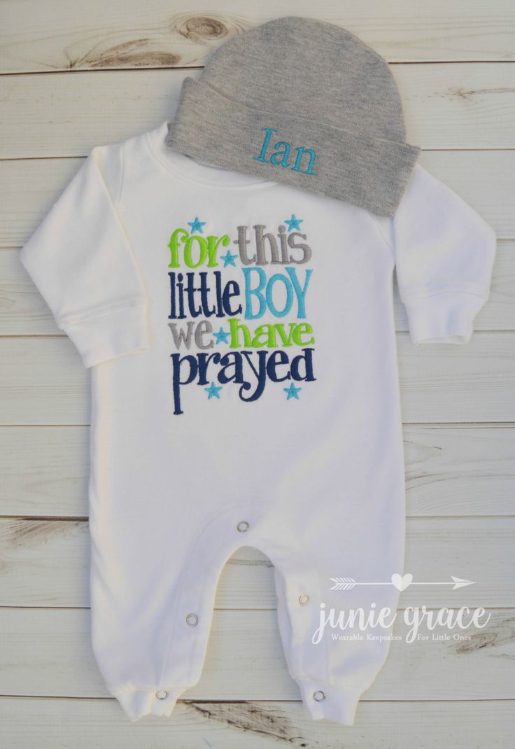 Baby Boy Coming Home Outfit Baby Boy Clothes Baby Boy Gift For This Boy We Have Prayed Newborn Baby Boy Outfit Newborn Hat Baby Boy Romper by juniegrace on Etsy