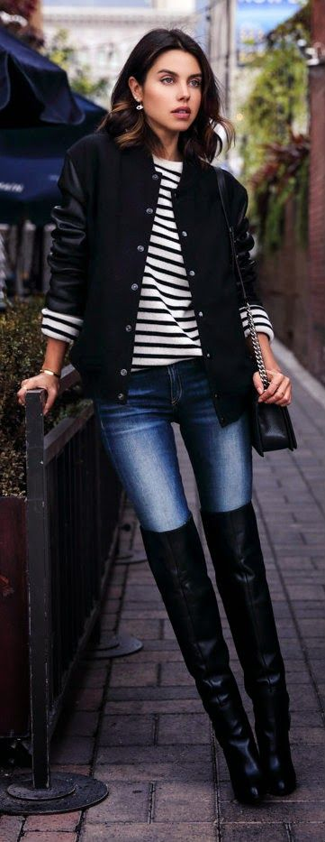 VARSITY BLUES - sandro varsity jacket, the skinny jeans, Lucien crew neck sweater, boy flap bag, saddle over-the-knee boots / VivaLuxury